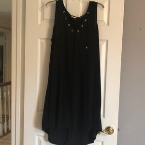 Black lined t-shirt dress with lacing, hi/low hem